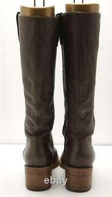 CHLOE Womens Brown Leather Wooden Block Heel Tall Riding Boots 7.5-37.5