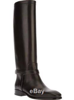 CHRISTIAN DIOR (£1,790) Black Leather Riding Biker Boots Sz 36.5 UK 3.5