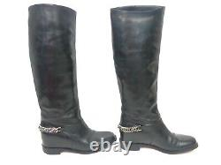 CHRISTIAN LOUBOUTIN size 36.5 Cate Chain Riding Boots Black Leather Biker Flat