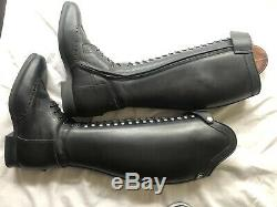 Celeris Tall Bia Riding Boots In Polished Black Leather Size 39.5