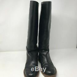 Celine Paris Womens Size 37 6.5 Black Leather Classic Pull On Riding Boots