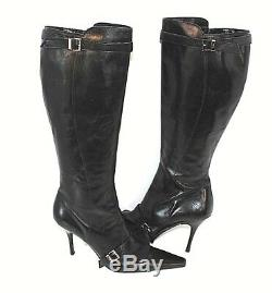 Cesare Paciotti Womens Knee High Leather Kitten Heel Riding Boots size 11 Italy