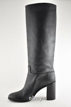 Chanel 18B Black Calfskin Leather CC Knee High Stacked Block Heel Tall Boots 40