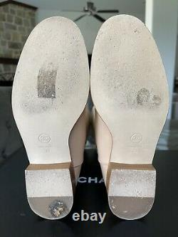 Chanel Authentic Light Beige CC Logo Leather Cowgirl Riding Boots Size 39 (US-9)