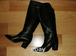 Chanel Black Calfskin Leather CC Knee High Stacked Block Heel Tall Boots 37.5 C