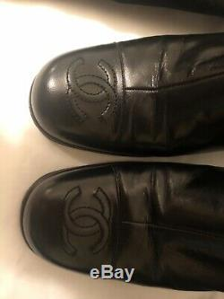 Chanel Black Leather Boots with dust bags. Womens size 37