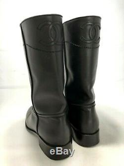 Chanel Black Leather CC Short Riding Boots, 39, $1800