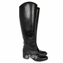 Chanel Black Leather Tall Riding Boots 38.5