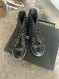 Chanel Black Silver Leather CC Logo Tall Riding Boots Size 39