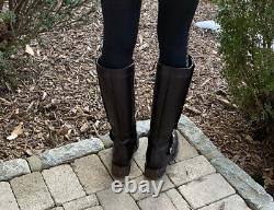 Chanel Boots Black Leather CC Turnlock Riding SZ 38.5
