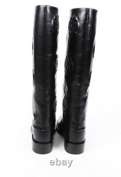 Chanel Boots Camellia Black Leather Riding SZ 38