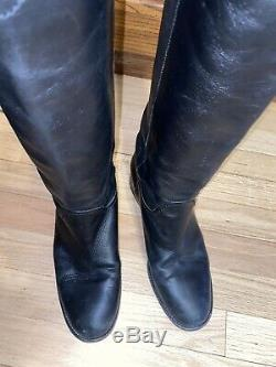Chanel High Boots Logo CC Back Riding Boots Black Calf Leather Size 40