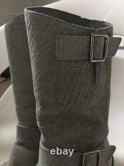 Chanel Motorcycle Biker Mid-calf Gray Sueded Leather Riding Boots 38.5