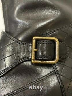 Chanel black ascot riding polo boots buckles CC knee high 39.5 in box