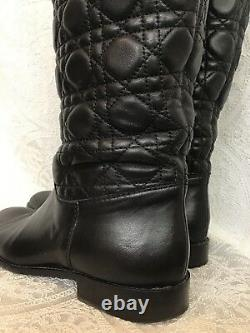 Christian Dior Boots Black Leather Cannage Riding Boots Quilted Size 39