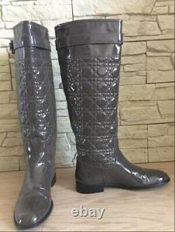 Christian Dior Cannage Lady Quilted Patent Leather Boots Riding Flat High Gray