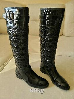 Christian Dior Cannage Quilted City Cannage Black Patent High Flat Boots 37.5