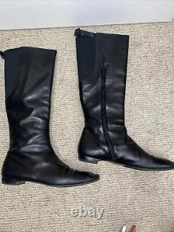 Christian Louboutin Unimollet Black Shoes Flat Knee High Leather Boots Riding 40