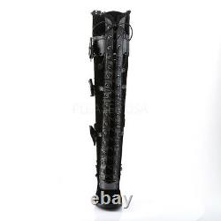DEMONIA Women's Black Lolita Gothic Goth Thigh High Boots with Scalloping & Bow