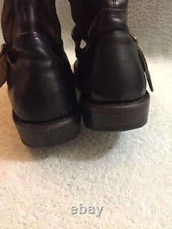 FIORENTINI+BAKER Eternity BUCKLED BLACK LEATHER RIDING Womeny Boots Sz 8