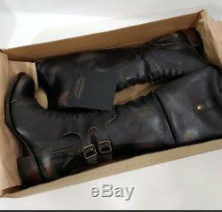 FREEBIRD BY STEVEN SADDLE BLACK Leather DISTRESSED RIDING TALL BOOTS NIB