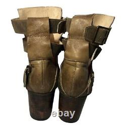 FREEBIRD Rolling Buckle Brown Khaki Leather Western Riding Boots Size 8