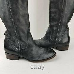 FREEBIRD WEST Over The Knee Distressed Black Leather Riding Boots US 8 back Zip