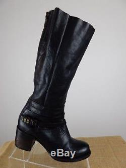 FREEBIRD Wiley Black Distressed Leather Zip Riding Equestrian Boot Women 7
