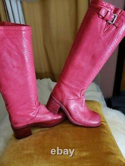 FREE LANCE Biker Riding Boots GERONIMO red snake skin Leather Sz. 7.5