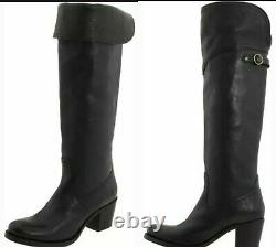 FRYE Black Jane Tall Cuff Leather Riding Over Knee Western Riding Boots10 M3020