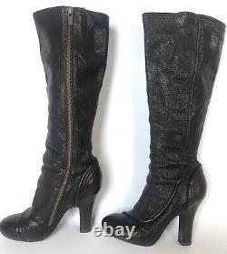 FRYE Dark Brown MATILDA Button Leather Knee High Boots Size 7 7M Pre-Owned Rare