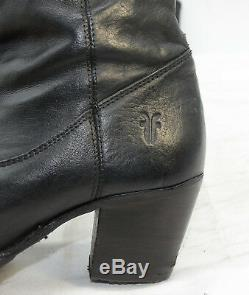 FRYE Jackie Butto Boot Womens Sz 8.5 Black Biker Knee High Leather Riding Boots