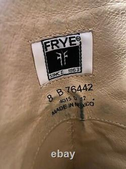 FRYE Melissa Trapunto Riding Boots Size 8 Cognac Brown Distressed Tall Leather
