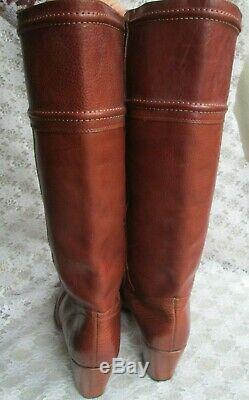 FRYE TALL RIDING BOOTS 77230 Jane Stitch 14L Brown Leather Women's 11M $348 NEW