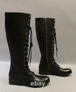 FRYE Women's Knee-High Melissa Tall Lace Boots KB8 Black 75455 Size 6.5M $458