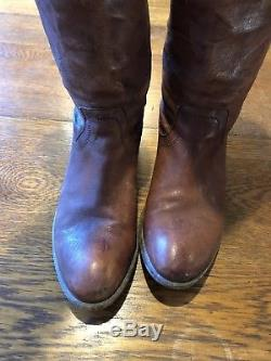 FRYE Womens 8.5 B Melissa Button Cognac Leather Knee High Riding Boots