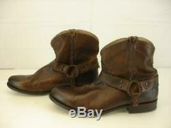 FRYE Womens sz 10 B M Wyatt Harness Strap Short Boots Brown Leather Riding Ankle
