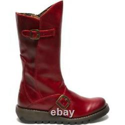 Fly London Mes 2 Womens Ladies Red Leather Wedge Boots Size UK 5-7
