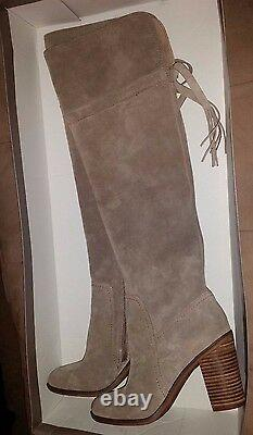Franco Sarto Ellyn Over Knee thigh high suede leather beige Boots sz 8.5 new
