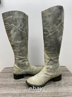 Free Bird Berlin Taupe Distressed Knee High Tall Riding Boots Womens 8