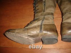 Free People Landmark Distressed Military Leather Knee High Lace Up Boots 6 / 36