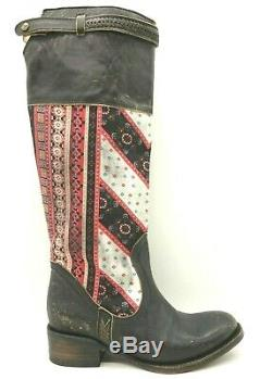 Freebird By Steven Black Leather Multi-Color Tall Pull On Riding Boots Women's 7
