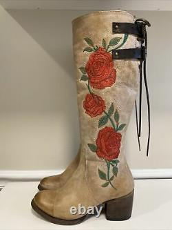 Freebird By Steven Cyrus Embroidered Rose Flower Leather Tall Riding Boots 8