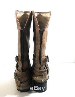 Freebird F8 Drove Women Rustic Brown Buckle Leather Harness Zip Riding Boot Sz 9