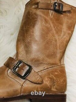 Frye Boots Tan Leather Veronica Slouch Distressed Combat Buckles Riding Sz 8