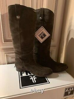Frye Brand New Melissa Button Fatigue Brown Suede Knee-High Riding Boots Size11M