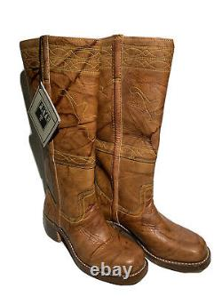 Frye Campus Stitching Riding Boot Saddle Tan Distressed Leather Classic Sz 8.5