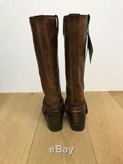 Frye Harness Tall Distressed Boots Cognac Brown Women's Size 7.5 New