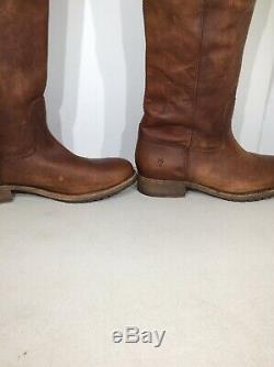Frye Melissa Button Lug Womens Size 7.5 Cognac Brown Tall Riding Boots FW-316