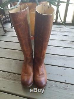 Frye Melissa Button Riding Boots Brown Distressed Leather Size 9.5M Women's